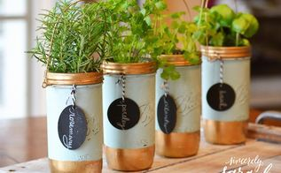 mason jar herb garden, container gardening, mason jars, repurposing upcycling