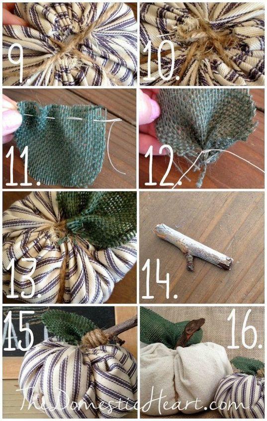 crafts fall fabric pumpkins tutorial, crafts, halloween decorations, seasonal holiday decor, reupholster