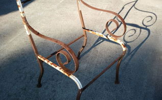q seeking advice on how to replace seats backs on iron patio chairs, reupholstoring, reupholster, One of four iron patio chairs in need of new seats backs