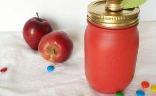 red apple mason jar gift, crafts, mason jars, repurposing upcycling