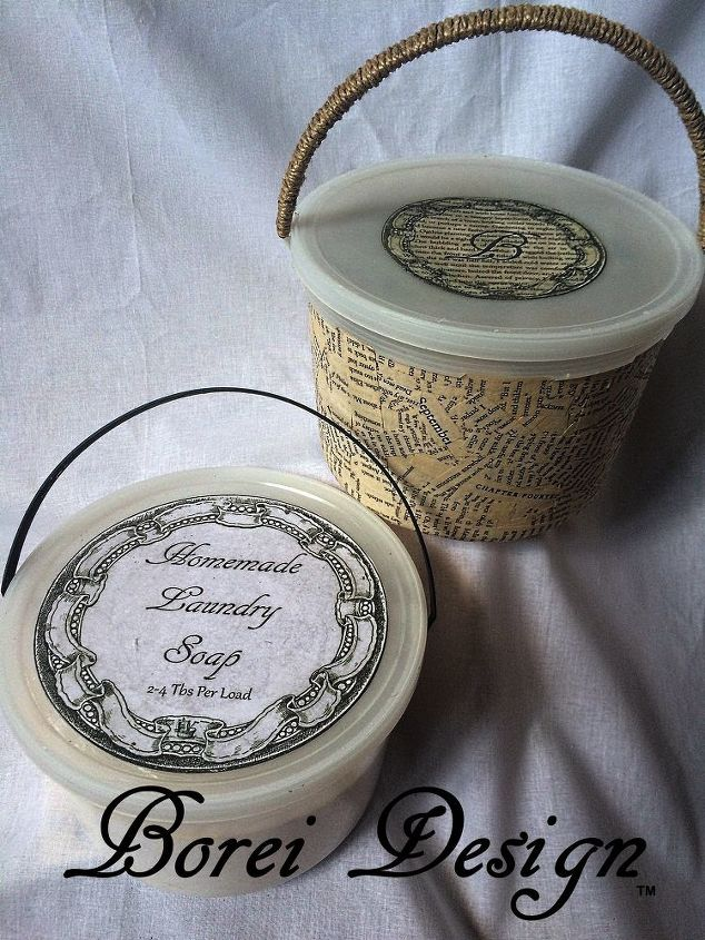 upcycling plastic ice cream buckets into great new storage containers, decoupage, repurposing upcycling, storage ideas