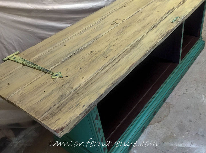 bottom of hutch turned sofa table fabflippincontest, painted furniture, repurposing upcycling