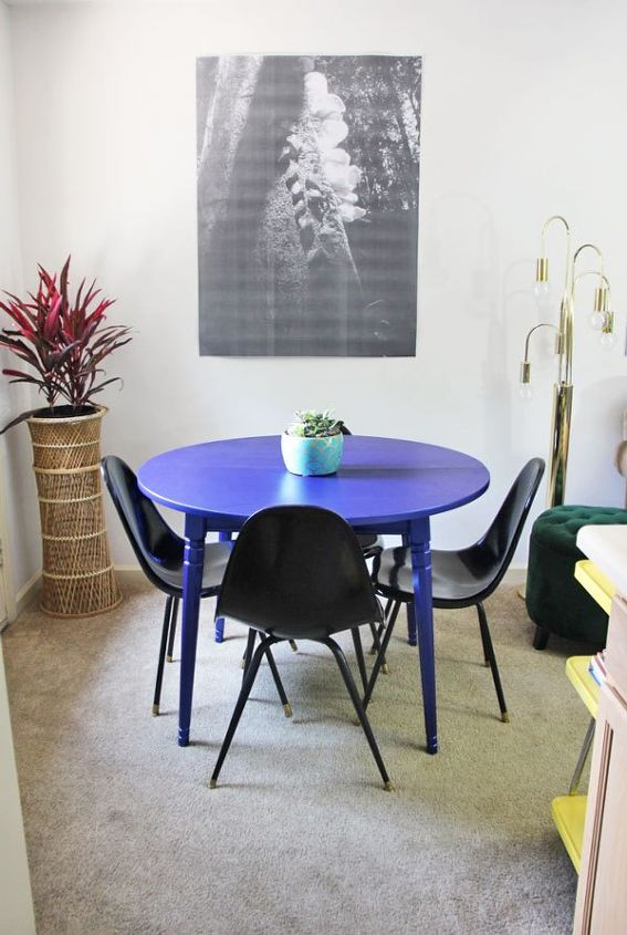 my metallic blue kitchen table transformation painted furniture