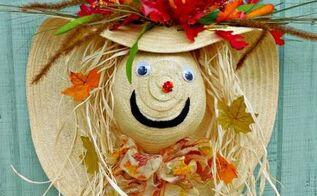 scarecrow autumn wreath door decoration, crafts, seasonal holiday decor, wreaths