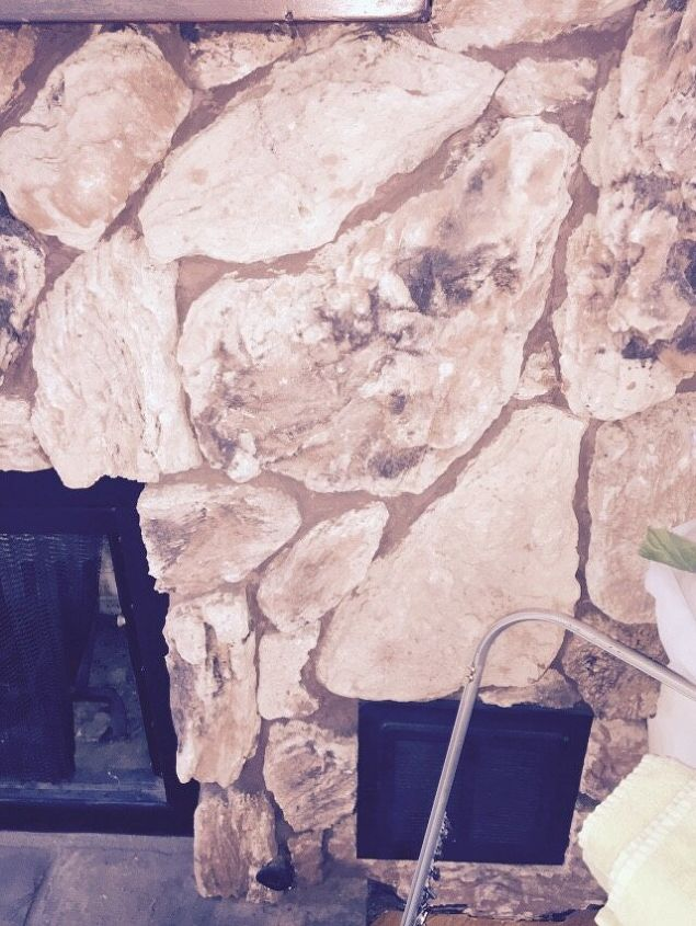 q painting a lava rock wall mantle, fireplaces mantels, painting, Got ta love the 70 s