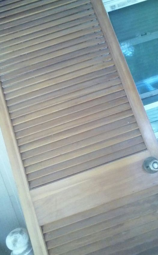 q upcycle a closet door, repurposing upcycling, The door is slated like shutters It s tall an narrow