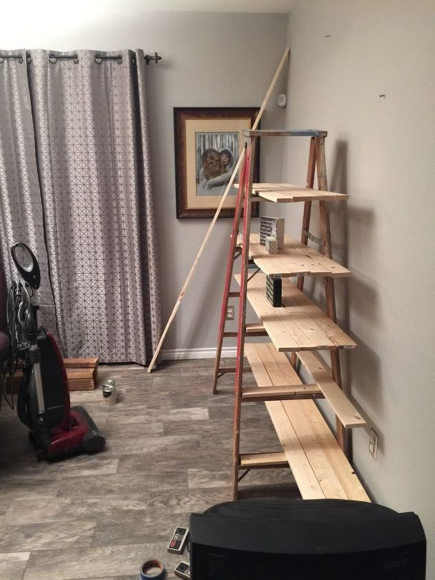 Old Wooden Ladder Transformed Into A Country Chic Shelf Diy Repurposing Upcycling Shelving