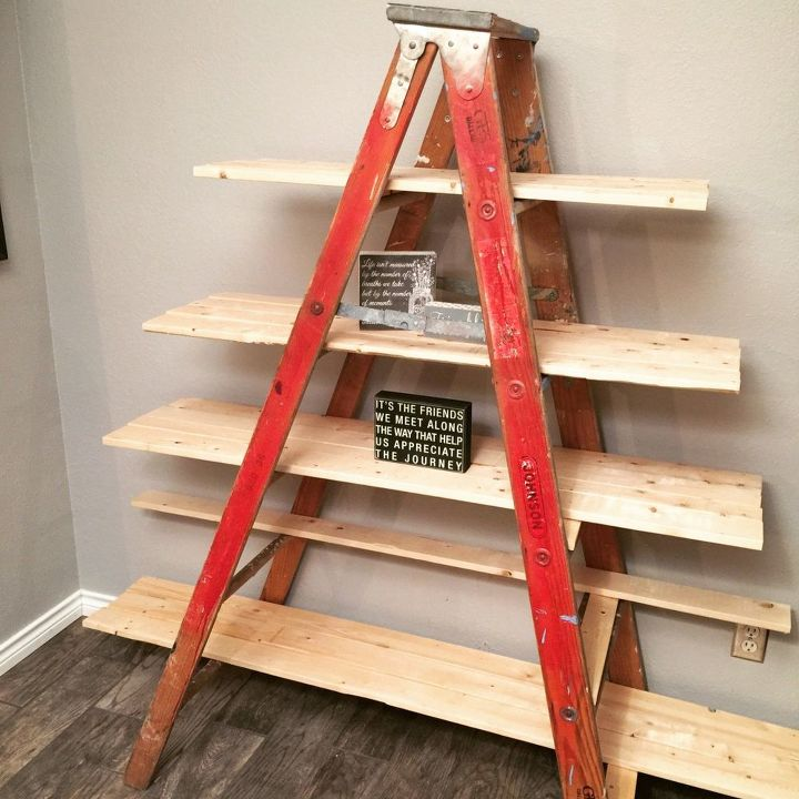 Old Wooden Ladder Transformed Into A Country Chic Shelf Hometalk