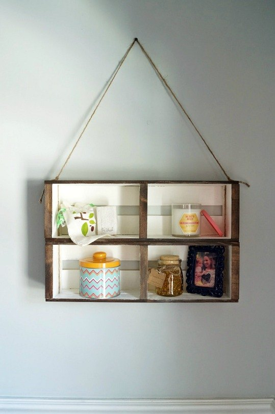 diy crate wall shelf from a cd organizer, bathroom ideas, organizing, repurposing upcycling, shelving ideas, small bathroom ideas