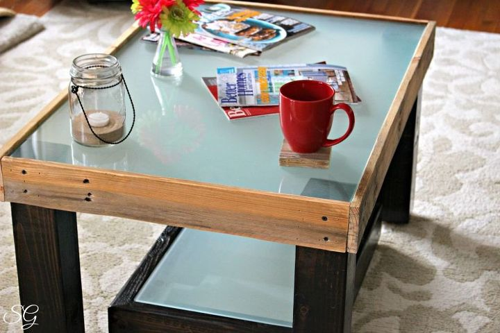 easy pallet and glass coffee table, diy, painted furniture, pallet, repurposing upcycling, rustic furniture, woodworking projects