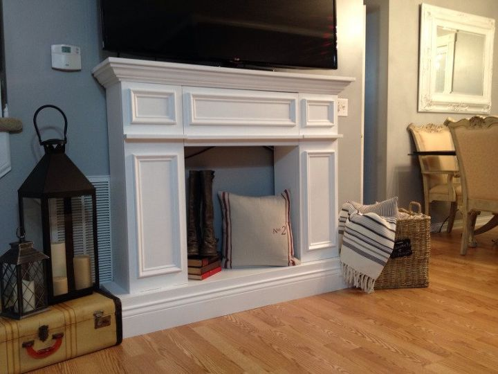 fake it til you make it a faux fireplace, diy, fireplaces mantels, living room ideas, woodworking projects