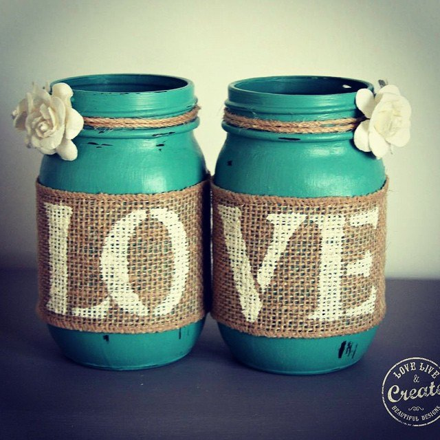 Customized Mason Jars Chalk Paint Crafts Repurposing Upcycling