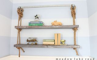 diy pipe and rope shelves, diy, how to, shelving ideas, wall decor, woodworking projects