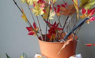 easy fall diy leaf and branch centerpiece, crafts, seasonal holiday decor