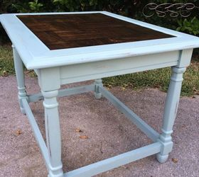 Antique Distressed Painted End Table With Parquet Wood Insert, Painted  Furniture