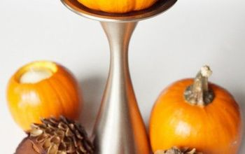 pumpkin candle holders, crafts, halloween decorations, painted furniture, seasonal holiday decor