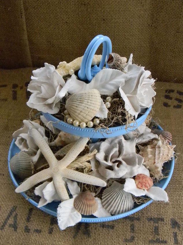 plaster dipped silk flowers coastal arrangement, crafts
