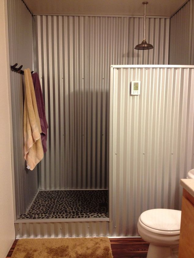 Anyone Use Barn Tin For A Shower Hometalk - Bathroom shower materials