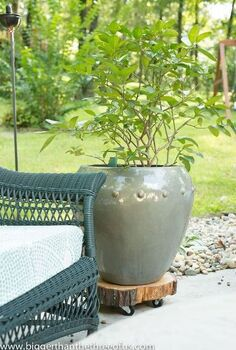 tree stump to rolling plant stand, diy, gardening, outdoor living, repurposing upcycling