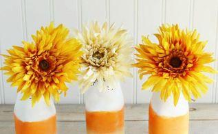 diy candy corn bottle vases, crafts, seasonal holiday decor