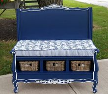 french farmhouse headboard bench, painted furniture, repurposing upcycling