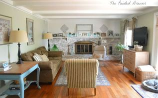 a room in guilford green w whitewashed brick and thrift store finds, concrete masonry, diy, fireplaces mantels, home decor, living room ideas, painted furniture, painting