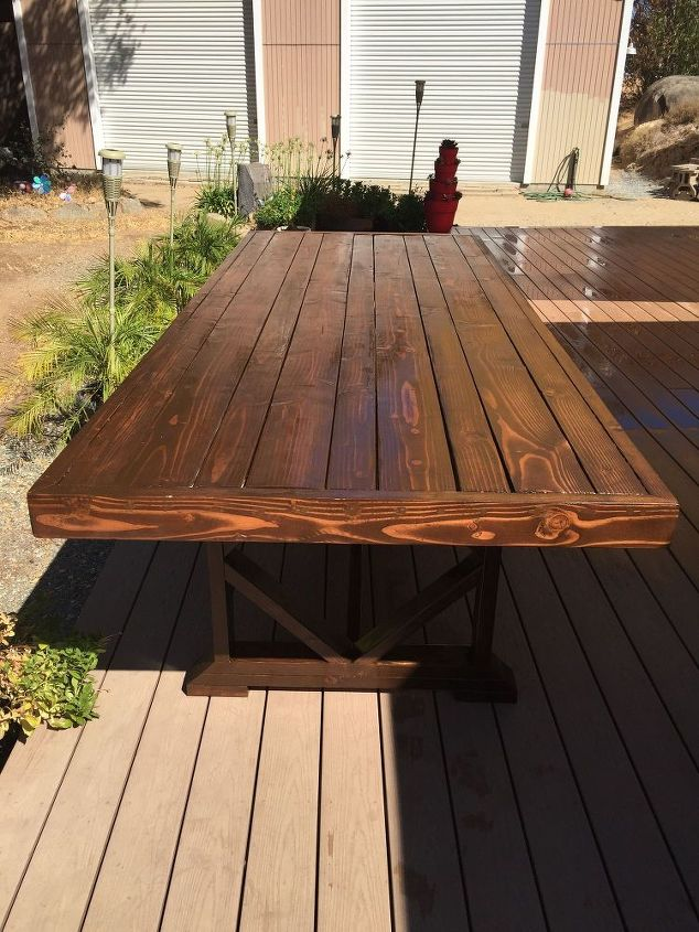 Diy large outdoor dining table seats 10 12 hometalk for 12 seater outdoor table and chairs