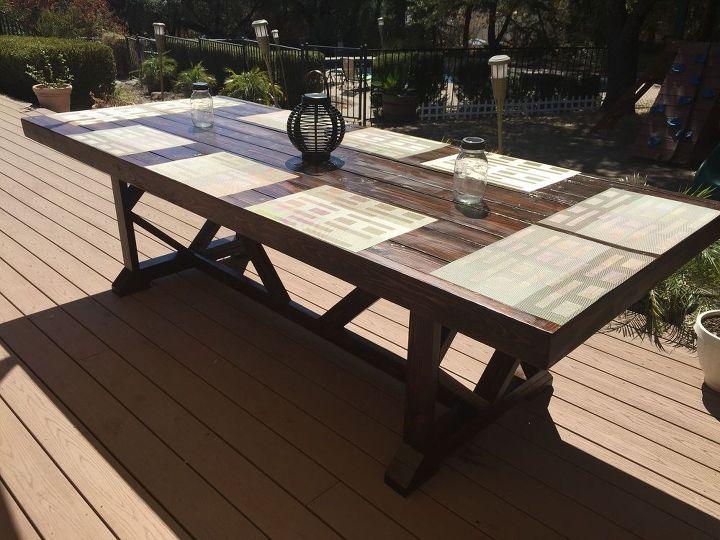 diy large outdoor dining table seats 10 12 diy outdoor furniture outdoor living - Dining Table Seats 10