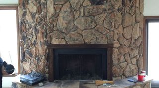 Q Painting A Lava Rock Wall Mantle Fireplaces Mantels Before Drybrushing