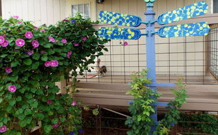 happy rose trellis for three dollars, flowers, gardening, repurposing upcycling