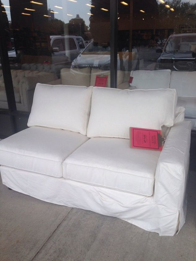 q need ideas for one armed sofa, home decor dilemma, The first two are the bargain It appears to be the small portion of a slip covered sectional Everything is top notch down filled and so comfy At 100 I thought it was worth an experiment