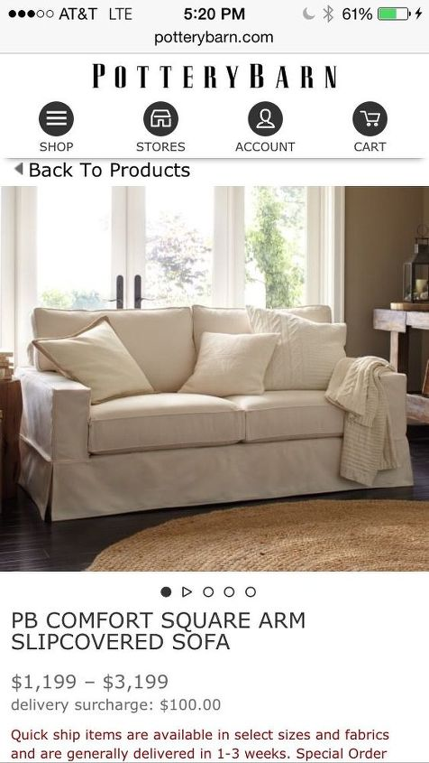q need ideas for one armed sofa, home decor dilemma, This is the actual loveseat from pottery barn s website The price is between 1100 3100