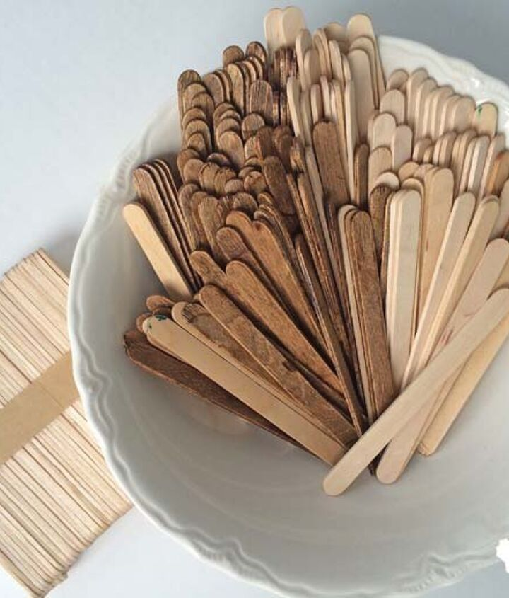 tiling a tray with popsicle sticks, crafts, repurposing upcycling