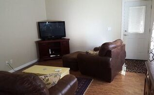 q my sad family room needs your help, home decor, home decor dilemma, living room ideas, Help The tv stand is wedge shaped so can only go in the corner