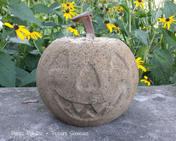 concrete pumpkin project, crafts, halloween decorations, repurposing upcycling, seasonal holiday decor