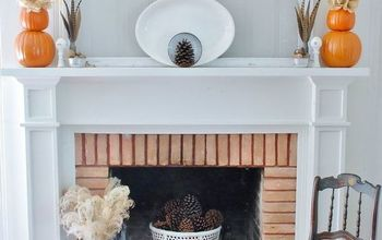 simple symmetrical fall mantel, crafts, fireplaces mantels, repurposing upcycling, seasonal holiday decor