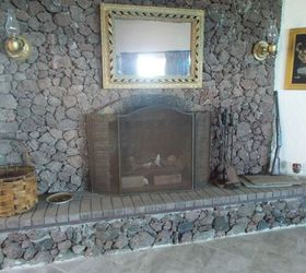 painting a lava rock wall mantle hometalk rh hometalk com Rock Chalk Painted Fireplace Rock Chalk Painted Fireplace