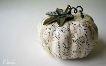decoupaged script paper pumpkin a catalog knockoff, crafts, decoupage, seasonal holiday decor