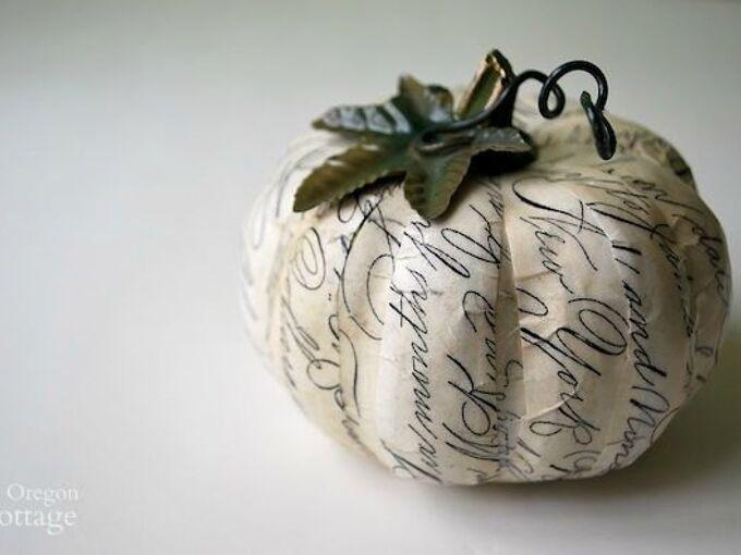 decoupaged script paper pumpkin a catalog knockoff, crafts, decoupage, seasonal holiday decor