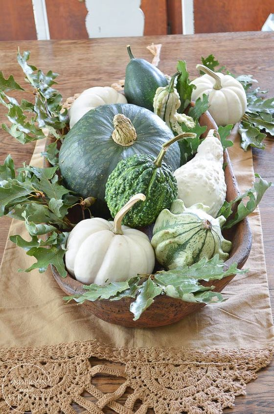 simple fall centerpiece with gourds squash and pumpkins, dining room ideas, seasonal holiday decor