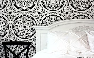 from blah to beautiful stenciled feature wall, bedroom ideas, how to, painting, wall decor