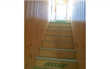 stenciled quote on a staircase, painting, stairs