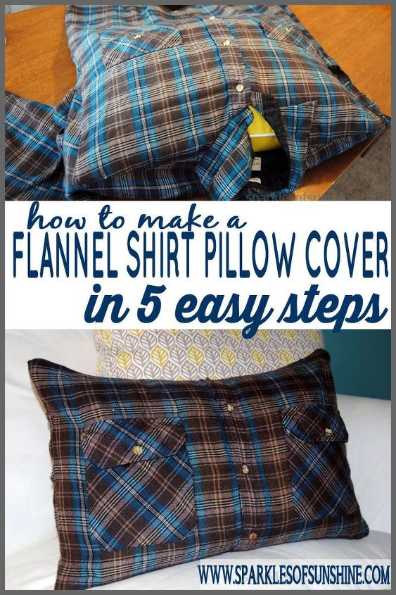 How To Make A Flannel Shirt Pillow Cover In 40 Easy Steps Hometalk Beauteous Button Up Shirt Pillow Covers