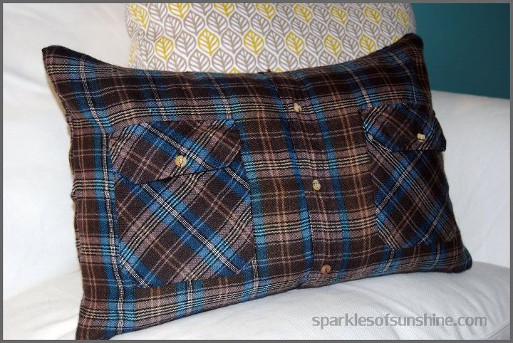 How To Make A Flannel Shirt Pillow Cover In 40 Easy Steps Hometalk Unique Button Up Shirt Pillow Covers