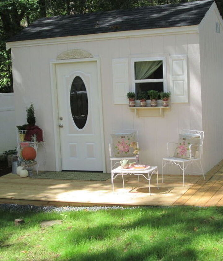 finally the wait is over come see my crafting cottage, craft rooms, diy, home improvement, outdoor living, shabby chic, woodworking projects