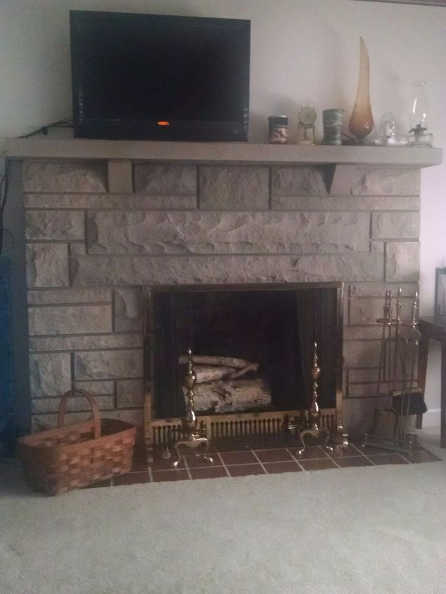 q need update ideas for bedford stone fireplace, concrete masonry, fireplaces mantels, home decor, living room ideas, It s in the main room as you come in Going to paint with some light shades of green pretty pale White crown moulding is going to go up I plan to frame the TV Fireplace is focal point of the room