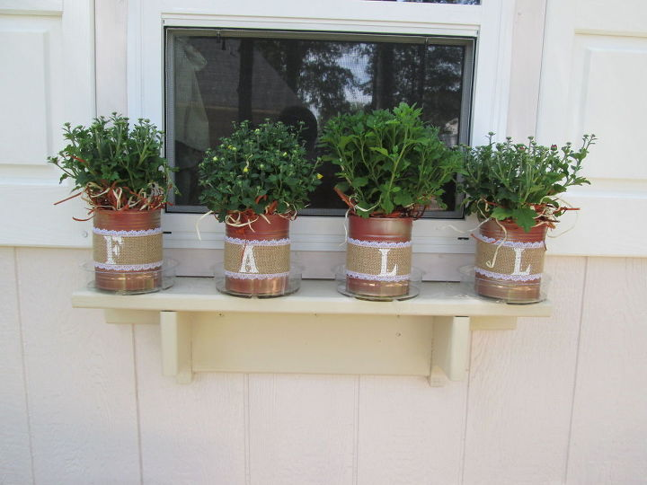 fall planters from recycled tomato cans, crafts, gardening, repurposing upcycling, seasonal holiday decor