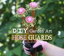 turn old drawer pulls into sweet garden hose guards, crafts, flowers, gardening, repurposing upcycling