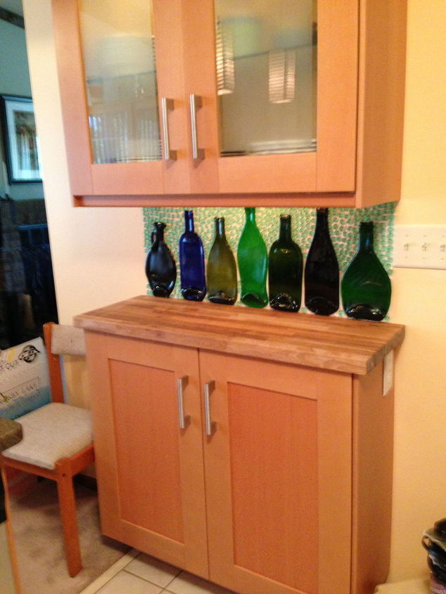 slumped bottles become a backsplash, kitchen backsplash, kitchen design, repurposing upcycling