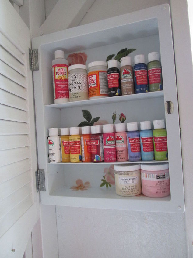 discarded medicine cabinet turned craft storage, craft rooms, organizing, repurposing upcycling, storage ideas